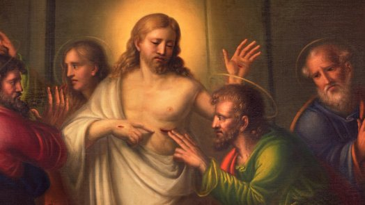 Thomas touches Jesus after the resurrection