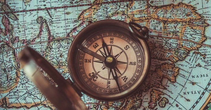 A Compass and map for a post on christian mission